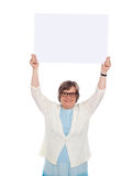 Woman holding blank banner ad over her head. Woman holding blank banner over her head. Business concept Royalty Free Stock Photos