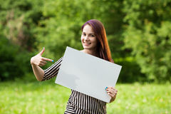 Woman holding blank banner Stock Photography