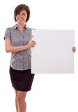 Woman holding a blank billboard Royalty Free Stock Photos