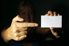 Woman Holding Blank Blank Business Card Royalty Free Stock Images