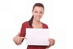 Woman holding blank board Stock Photo