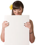 Woman Holding Blank Board Royalty Free Stock Photography
