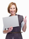Woman holding a blank board with approval s Royalty Free Stock Images