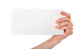 Woman holding blank business card Stock Images