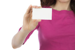Woman holding a blank business card Stock Photography