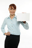 Woman holding blank business card Royalty Free Stock Photography