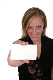 Woman Holding Blank Card 2. Attractive smiling business woman holding blank card with room for text. Focus on card royalty free stock images