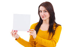 Woman holding blank card Stock Photos