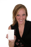 Woman Holding Blank Card 3. Attractive smiling business woman holding blank card with room for text stock image