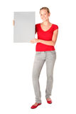 Woman Holding Blank Card. Woman holding blank poster board Stock Photography