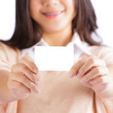 Woman holding blank card Stock Photography