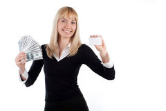 Woman holding blank card and money in hands Stock Images