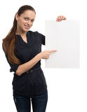 Woman holding blank card. Royalty Free Stock Image