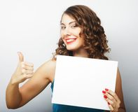 Woman holding blank card Royalty Free Stock Photos