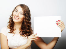 Woman holding blank card Stock Photo