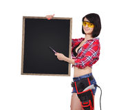 Woman holding blank chalkboard Stock Images