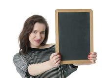 Woman holding blank chalkboard Stock Image