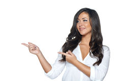 Woman holding blank copy space on her open palm Stock Photos