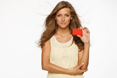 Woman holding blank credit card Royalty Free Stock Photography