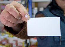 Woman holding blank credit card Stock Photo