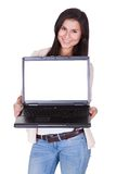 Woman holding a blank laptop Royalty Free Stock Photos