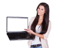 Woman holding a blank laptop Royalty Free Stock Images