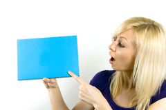 Woman holding a blank notecard Stock Photos