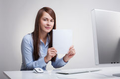 Woman Holding Blank Paper Stock Images