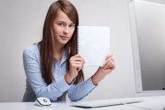 Woman Holding Blank Paper Royalty Free Stock Image