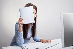 Woman Holding Blank Paper Stock Photo