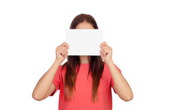 Woman holding a blank paper covering her face. Isolated on white background Royalty Free Stock Photography