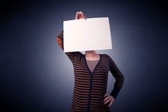 Woman holding blank paper Stock Image