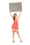 Woman holding blank placard Stock Photos