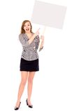 Woman holding blank placard Royalty Free Stock Photos