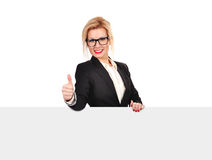 Woman holding blank placard Royalty Free Stock Photography