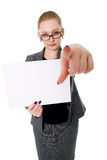 A woman holding a blank placard. Isolated on a white background Royalty Free Stock Images