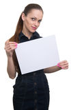 Woman holding a blank placard. Isolated Royalty Free Stock Photography
