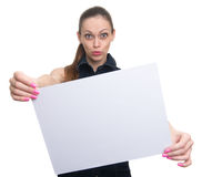 Woman holding a blank placard. Isolated Royalty Free Stock Photos