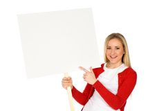 Woman holding blank poster Stock Images