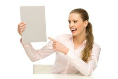 Woman holding blank poster Stock Image