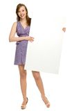 Woman holding blank poster Stock Photos