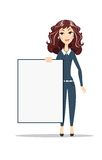 Woman holding a blank A1 poster. Female business model. Smiling girl isolated Vector Illustration