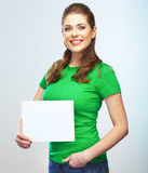 Woman holding blank poster isolated portrait. Stock Photo