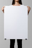 Woman holding a blank poster. Woman holding a blank poster, mockup Stock Photo