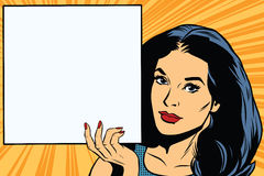 Woman holding blank poster pop art vector Stock Images