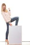 Woman holding blank presentation board Royalty Free Stock Photo