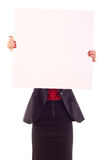 Woman holding blank sign Stock Image