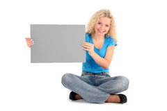 Woman holding blank sign Royalty Free Stock Images