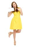 Woman holding blank sign Stock Images