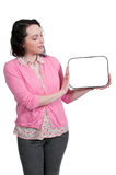 Woman Holding a Blank Sign Royalty Free Stock Photos
